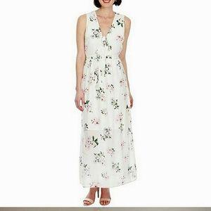 ☀White floral SILK dress maxi dress cutout dress
